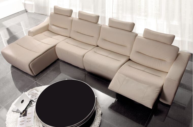 Modern Sofa Set L Shape Designs Recliner Leather With Genuine