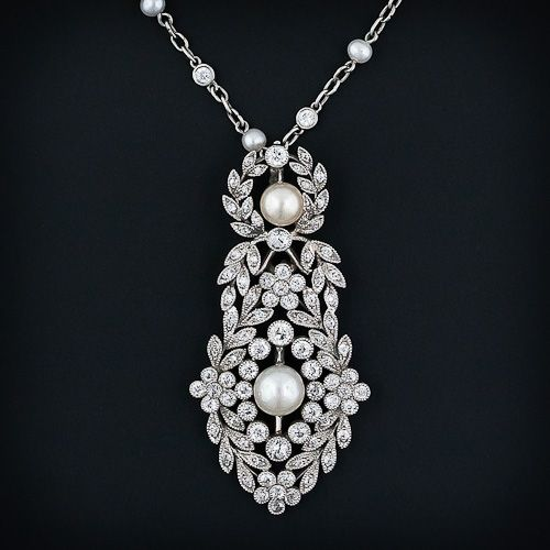 Edwardian J.E. Caldwell Diamond and Pearl Pendant Necklace  From Lang Antique & Estate Jewelry