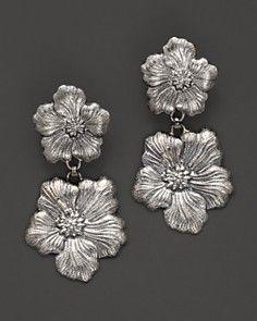 "Buccellati ""Blossom"" 1 Small 1 Medium Flower Pendant Earrings"