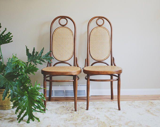 Vintage Mid Century Prague Thonet Cane Bentwood Arm Chairs ...