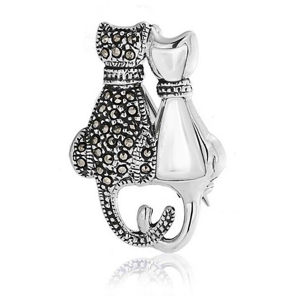 Bling Jewelry Mop Marcasite Pendant Curled Cat Tail 925 Silver Brooch... (€25) ❤ liked on Polyvore featuring jewelry, brooches, grey, silver brooch, pendant jewelry, silver pendant, cat pendant jewelry and pin jewelry
