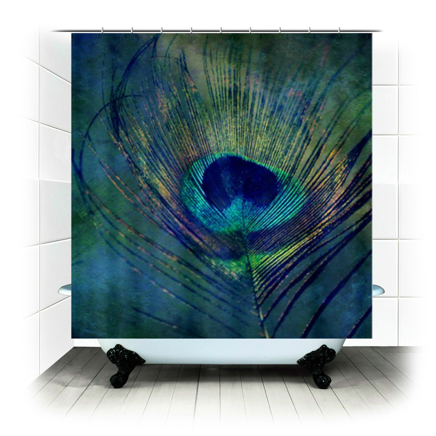 plume - peacock feather - fabric shower curtain - photography