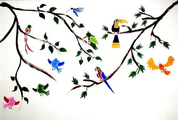 Toucan Bird Wall Stencil Wall Art Room Decoration