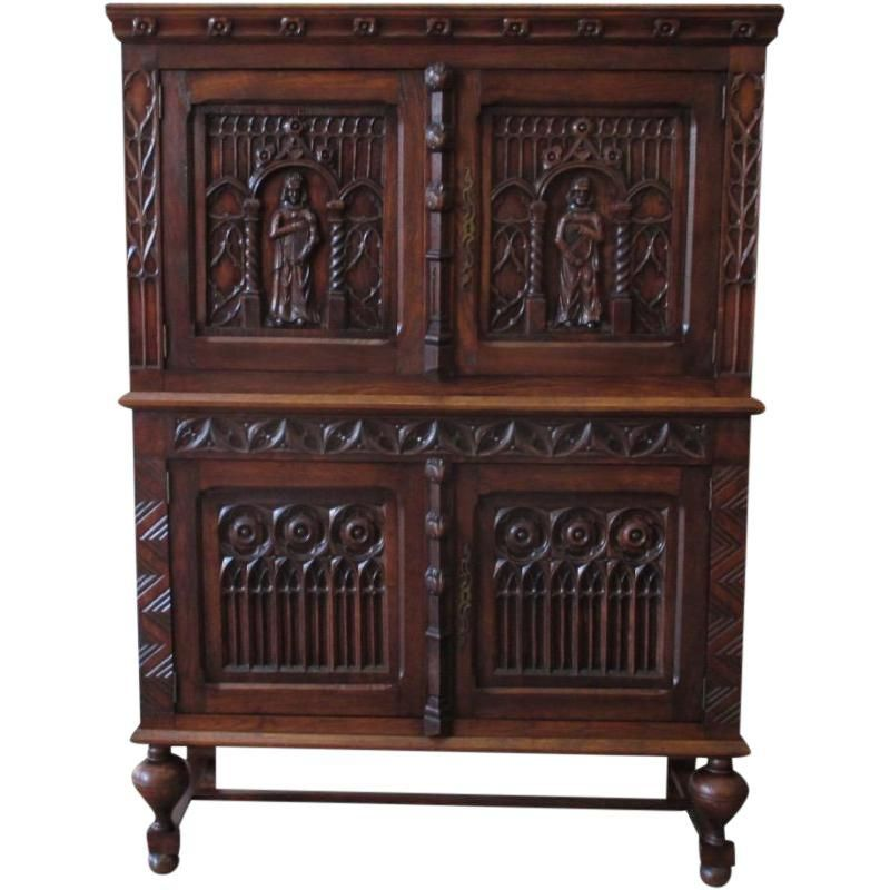 Cheap Old Furniture For Sale: French Antique Gothic Oak Vestry Cabinet Server Sideboard
