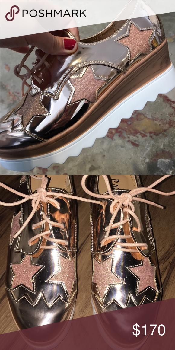 b4aef621953 Metallic platform sneakers Brand new trendy rose gold metallic platform  shoes. Never worn from a