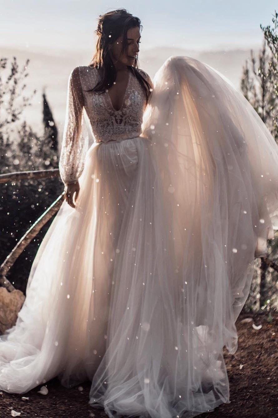 A Line Long Sleeves Ivory V Neck Beach Wedding Dresses With Lace Appliques Bridal Dresses Sfb Boho Bridal Dress Summer Wedding Dress Beach Beach Wedding Dress [ 1336 x 890 Pixel ]