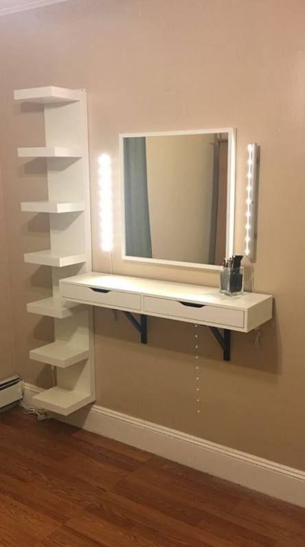 Makeup Vanity Mirror Ideas Floating Shelves 62 Ideas Makeup Room Decor Diy Vanity Table Vanity Design