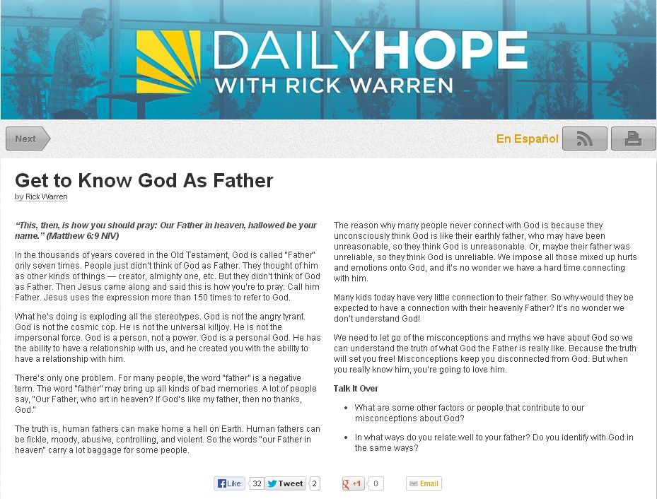 Daily hope with rick warren love to listen to this