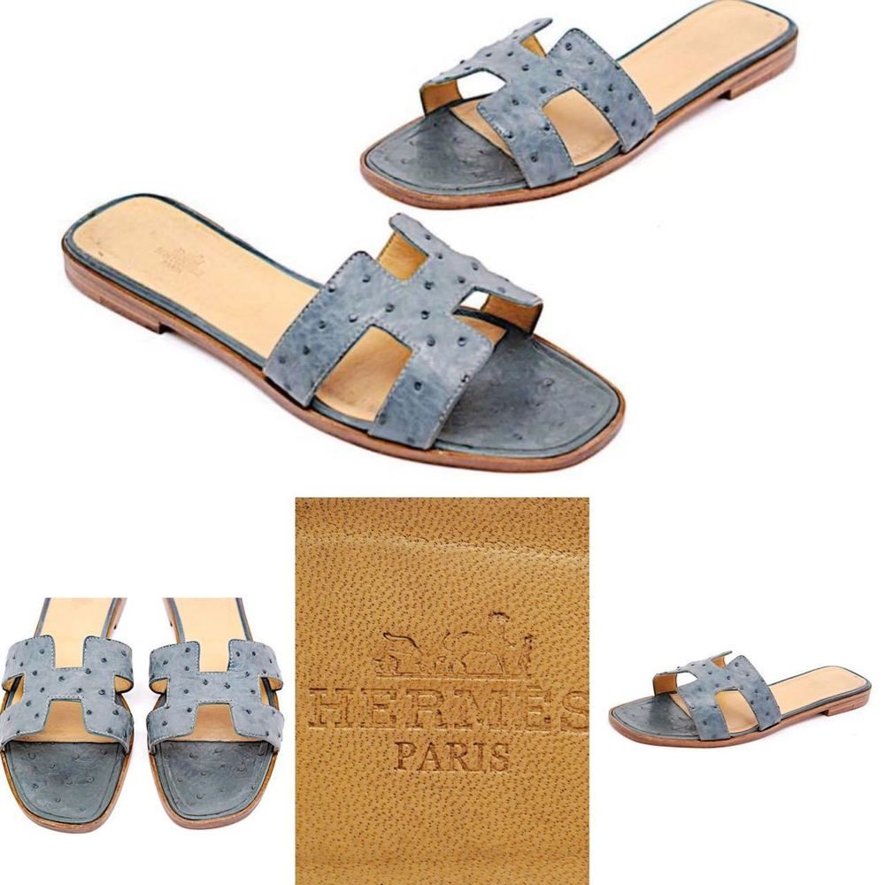 e07badc4c6b HERMES Muted Teal Ostrich Leather Signature H Slip-On Sandal - 41 11  Hermes   FlipFlops  Casual