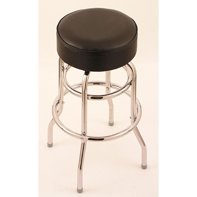 Add A Touch Of Style To Your Bar Area With This Backless Black Counter Stool The Chrome Base And Faux Leather Seat Will Complement