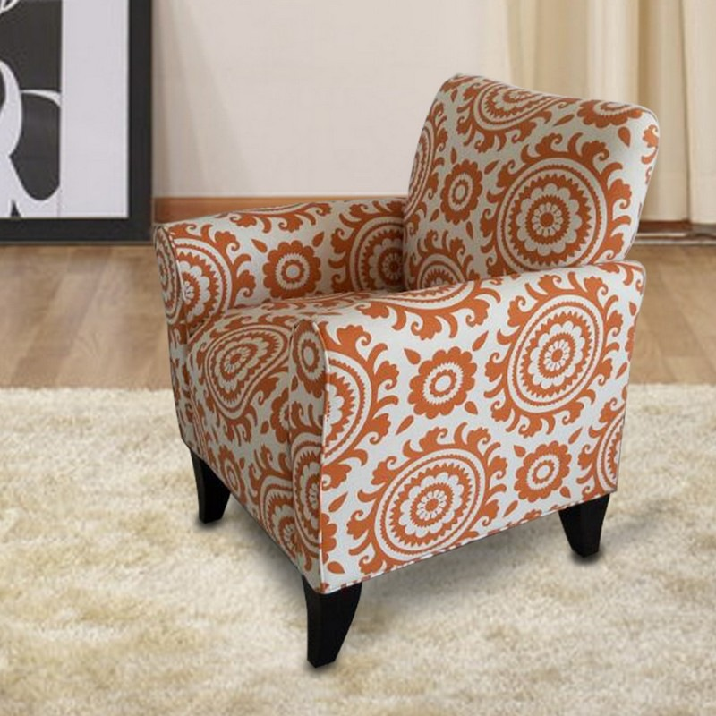 Furnistar Orange Floral Accent Chair With Birch Wood Legs (Single).  Furnistar Orange Floral