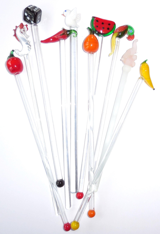10 Novelty Glass Vintage Drinks Stirrers Art Glass Long Etsy Drink Stirrers Stirrers Cocktail Sticks