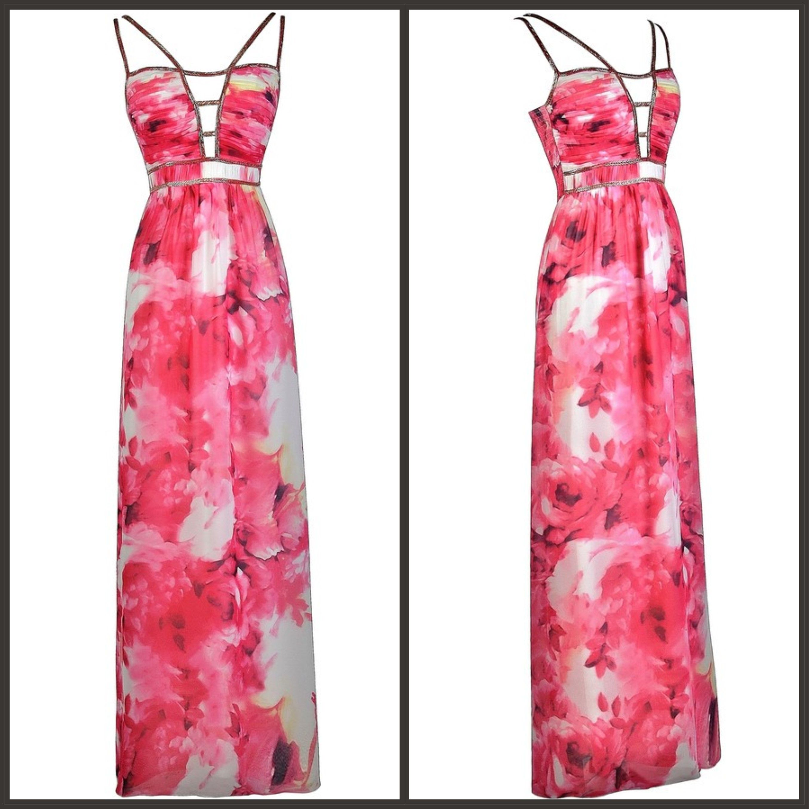 This pink watercolor maxi dress is perfect for your next formal