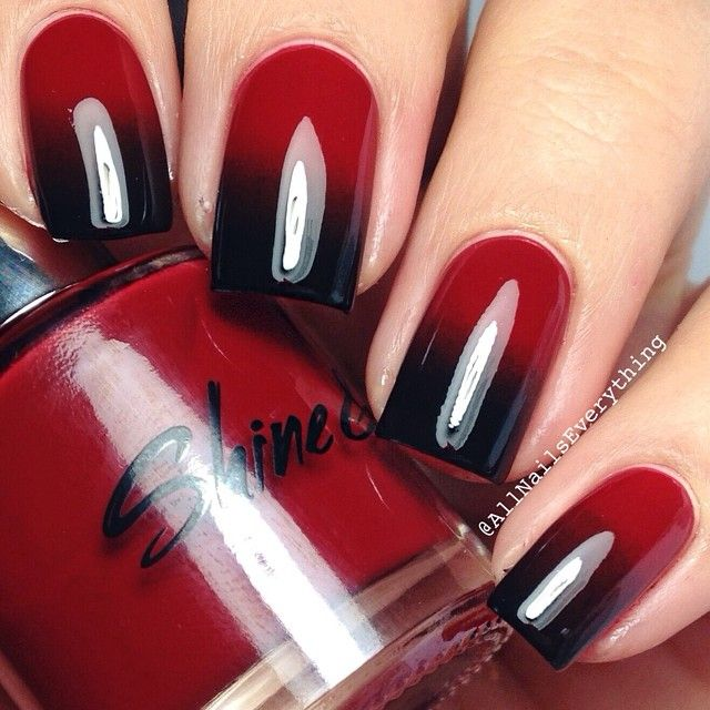 This red & black ombre nail design is sleek & sexy! Reminds me of True  Blood, very vampy & darkly romantic! - This Red & Black Ombre Nail Design Is Sleek & Sexy! Reminds Me Of