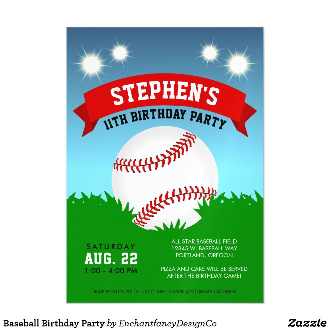 Baseball Birthday Party Magnetic Card Hit a home run for your