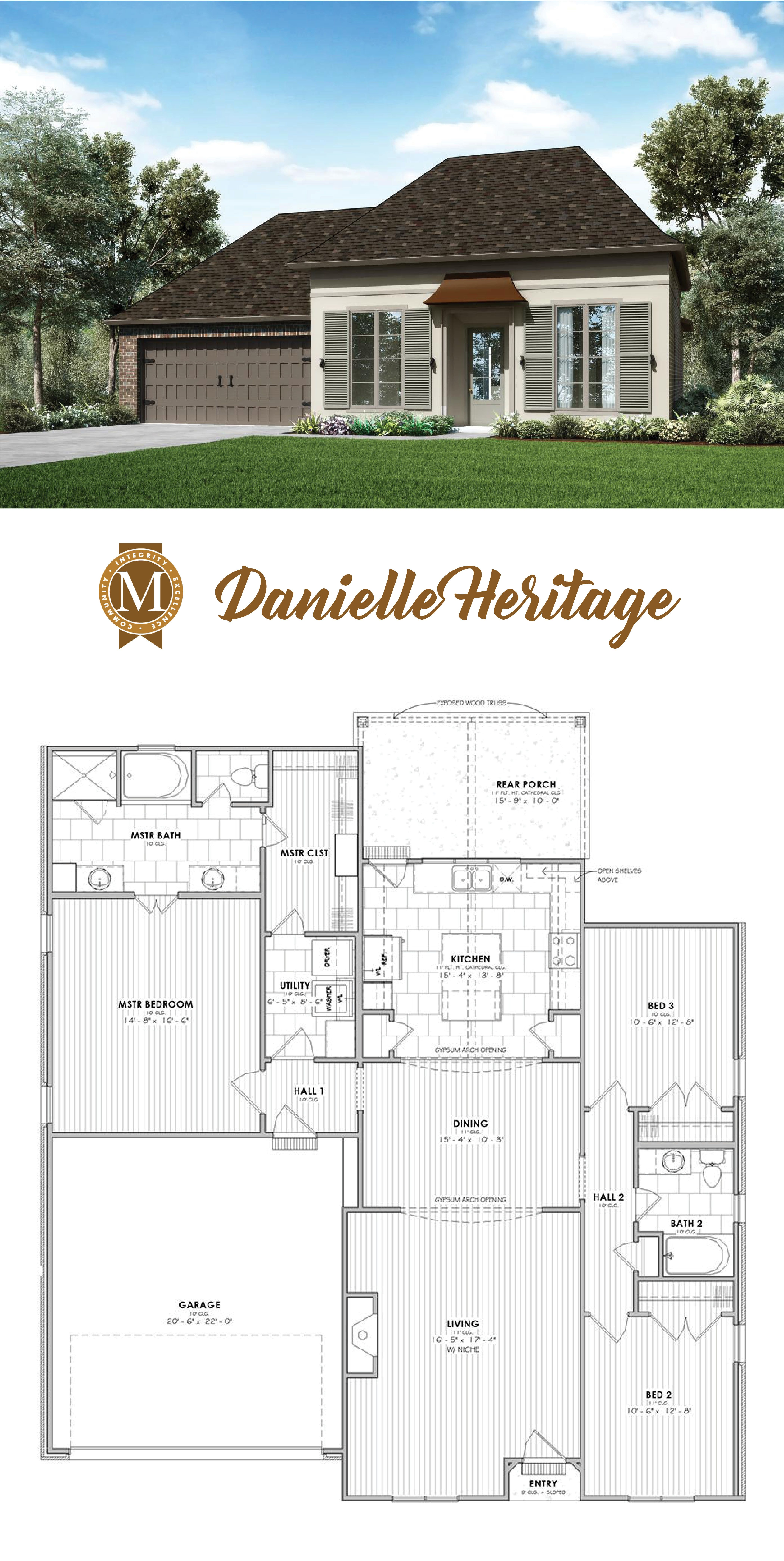 Danielle Heritage Ii Floor Plan 1 825 Square Feet 3 Bedrooms 2 Bathrooms 2 Car Garage Louisiana Lake Charles Laf Dream House Plans House Exterior Floor Plans