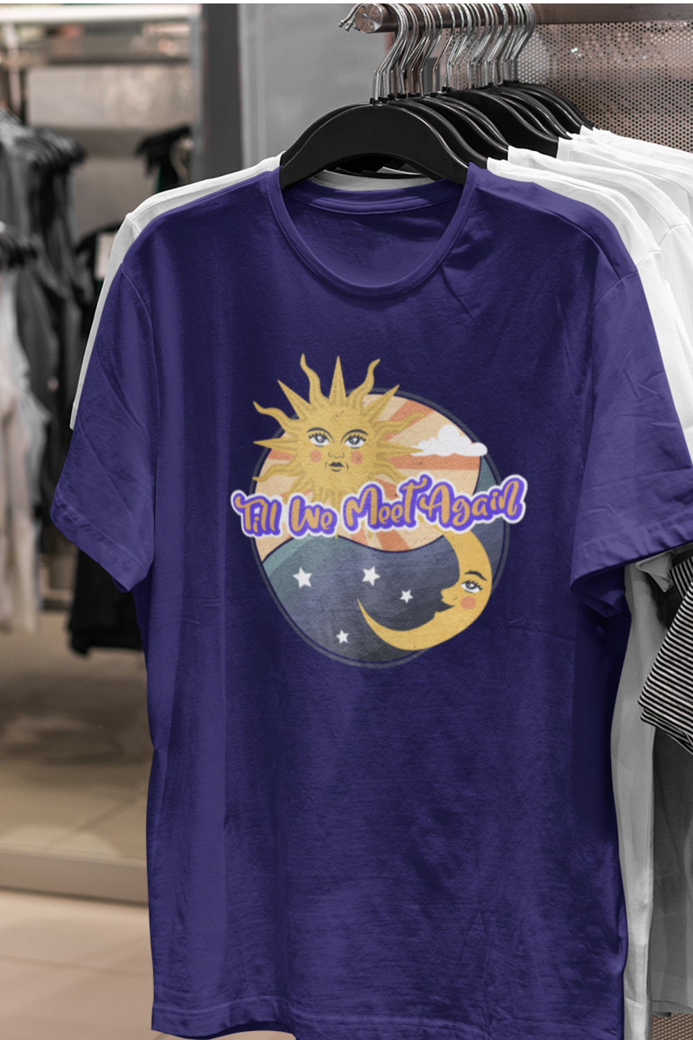 Add something new to your wardrobe with this Sun And Moon design or give it as the perfect gift!  #SunTshirt #SummerTshirt #SunAndMoon #DayAndNight #TshirtDesign #VintageStyle