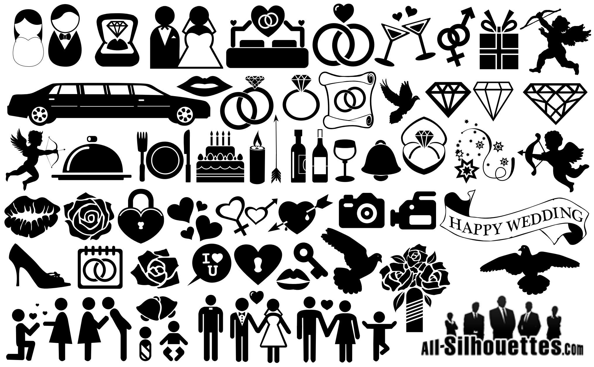 Wedding Icons Symbols Silhouette Silhouettes Vector
