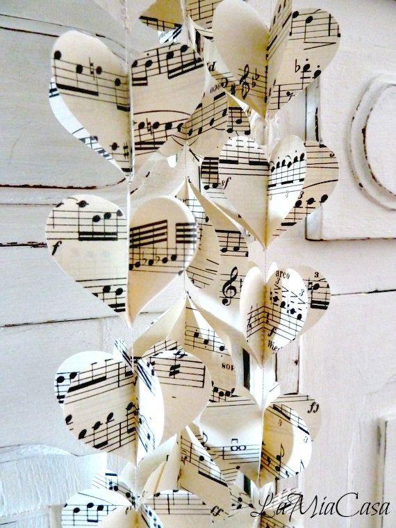Musik-Girlande, Herz Girlande, Musik Hochzeitsdekorationen, Musik Brautdusche, Musik-Baby-Dusche, Musik-Geschenk, Musik-Dekorationen für Party #vintagemusic