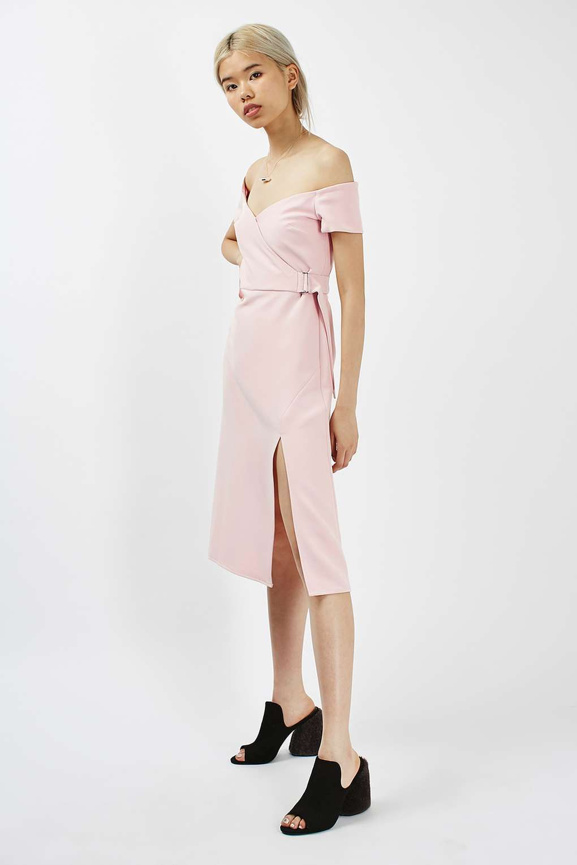 Pink dress topshop  Off The Shoulder Wrap Dress  New In  SHOP  Pinterest  Wrap