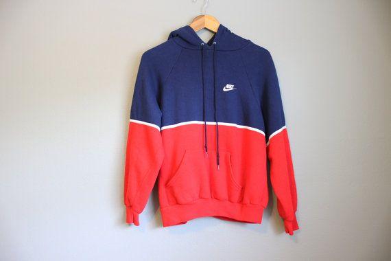 Nike Sweatshirt Vintage Hoodie 80s Colorblock Mens Unisex