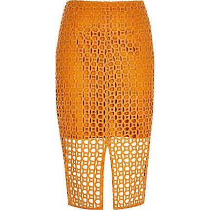 Orange circle lace pencil skirt 51,00 €