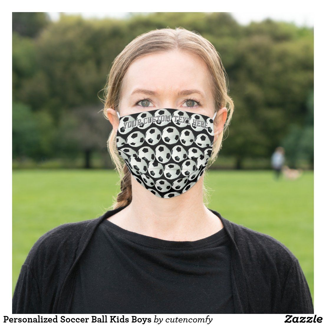 Personalized Soccer Ball Kids Boys Cloth Face Mask Zazzle Com In 2020 Face Mask Mask Face
