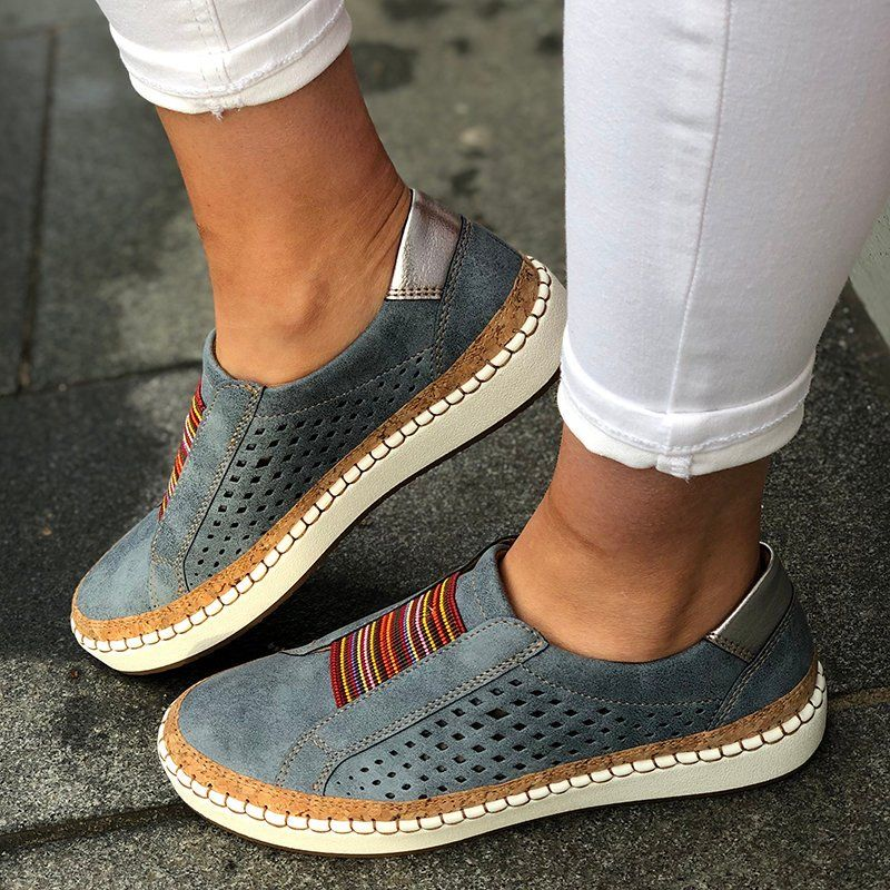 Round Toe Flat Casual Sneakers | Shoes