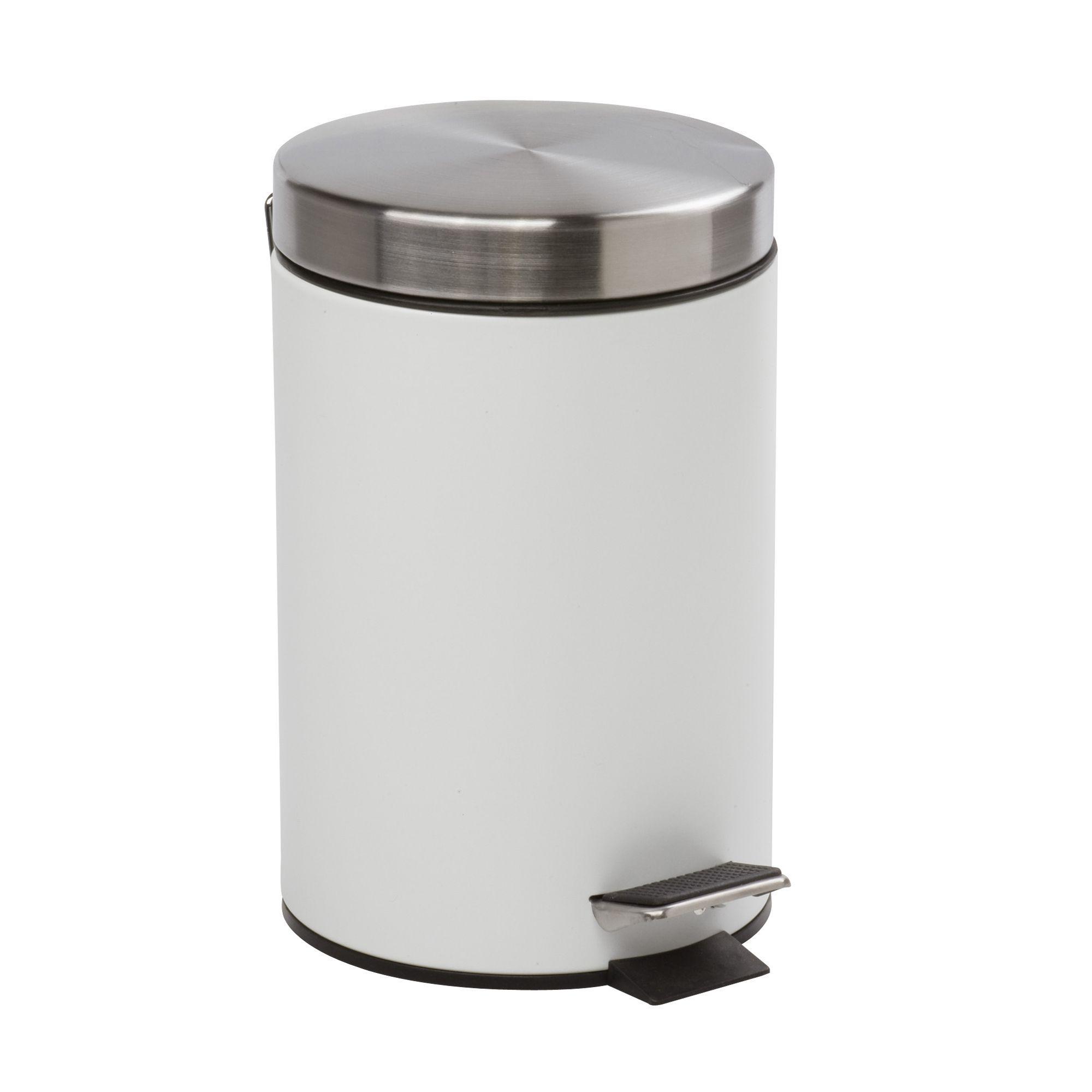 poubelle à pédale blanc - cedric - poubelles de salle de bains