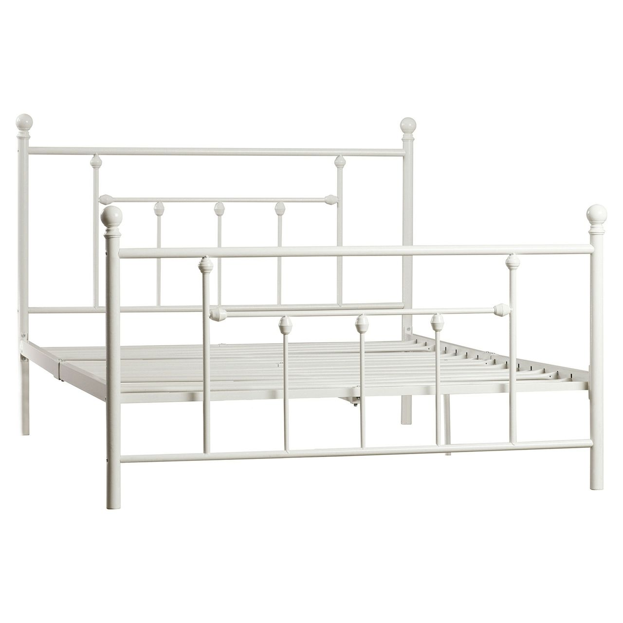 Queen White Metal Platform Bed Frame with Headboard and Footboard ...