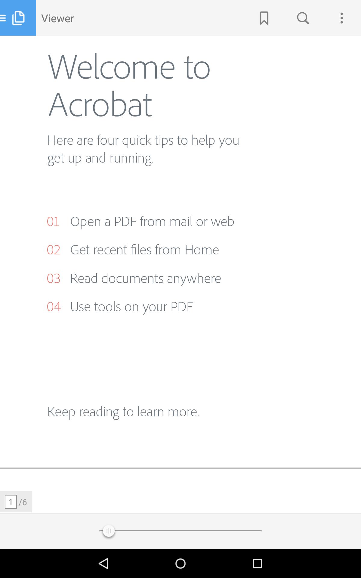 Adobe Reader Acrobat Document Cloud, Android App
