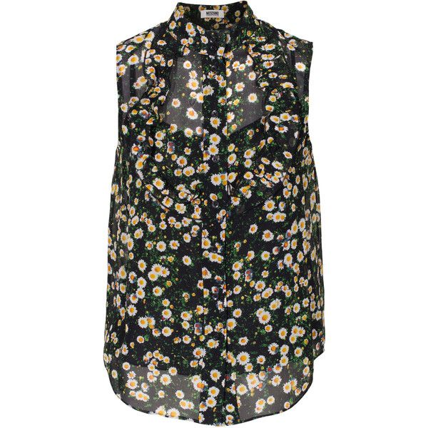 MOSCHINO Cheap and Chic Daisy Sleeveless Multi Patterned silk blouse ($215) found on Polyvore