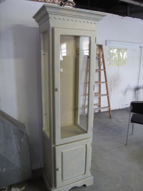 Powder Blue White Washed Curio Display Cabinet