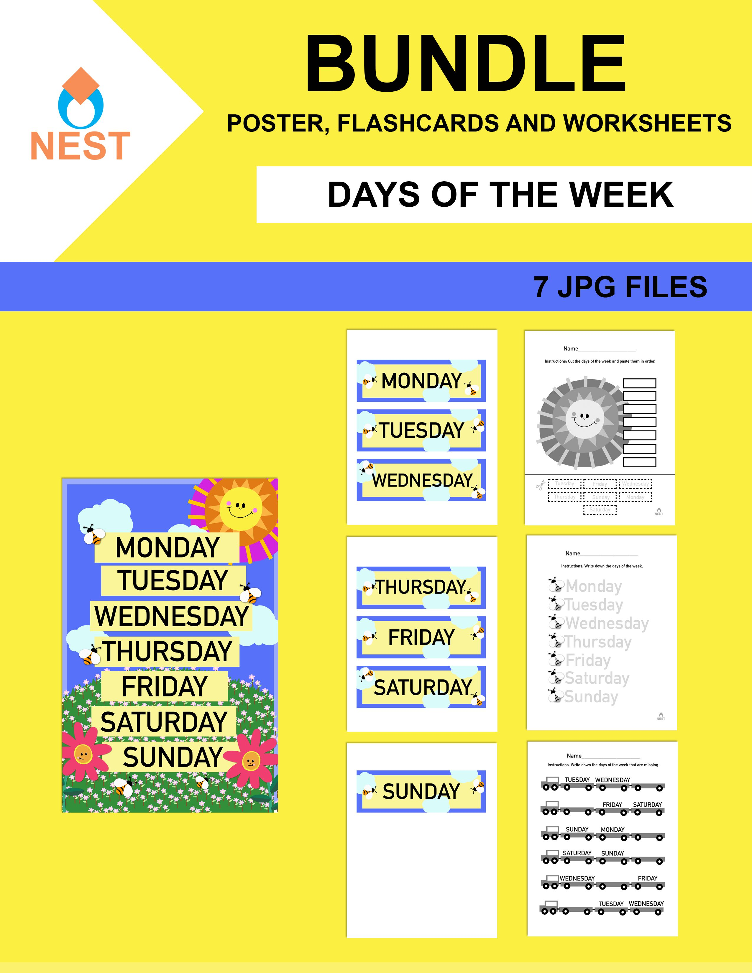 Days Of The Week Poster Worksheet And Flashcards