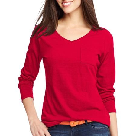 703e8c6c Hanes Women's V-Neck Long-Sleeve Pocket T-Shirt | Modern, Chic, and ...