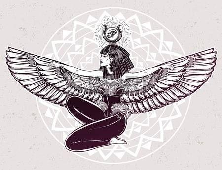 deidad egipcia Isis con las alas outstratched. Isis es la diosa de la salud, la magia y el amor. En la religi�n mesopot�mica su nombre es Tiamat. Espiritualidad, el ocultismo, el arte del tatuaje. ilustraci�n del vector. photo