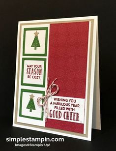 Stampin' Up! Christmas Card, Stitched With Cheer Photopolymer, PPA #316,Susan…