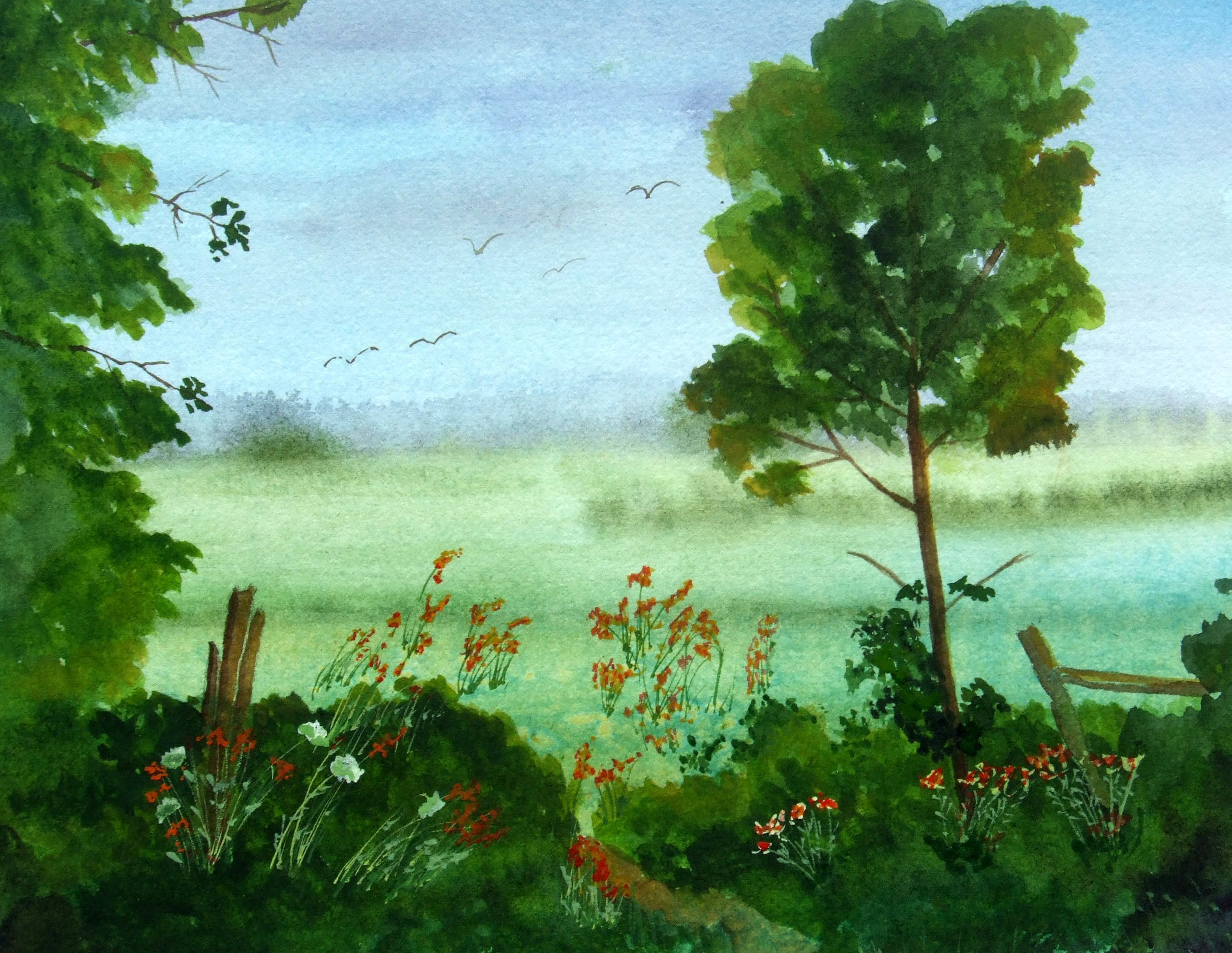 Easy Watercolor Paintings Mixing Greens For Watercolor