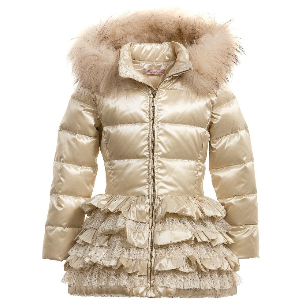 Girls Gold Down Padded Coat with Fur Trim Hood, Miss Blumarine, Girl