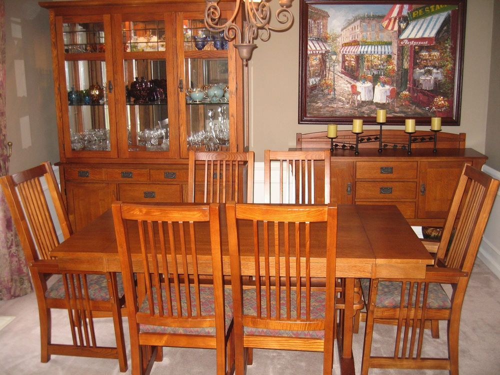 Bassett 9 Piece Medium Oak Dining Room Set Lighted Hutch Sideboard Mission