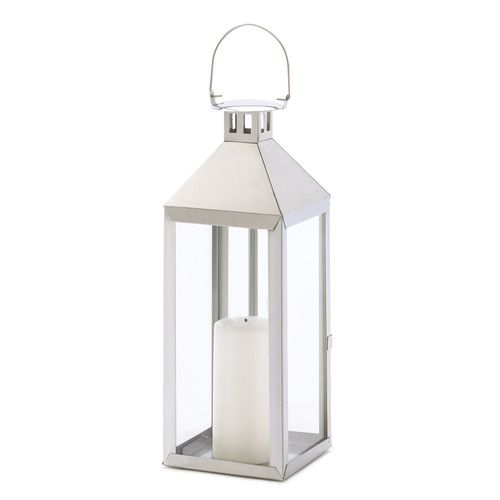 Beautiful silver lantern - perfect for holiday decorating! Soho Candle Lantern (affiliate link)