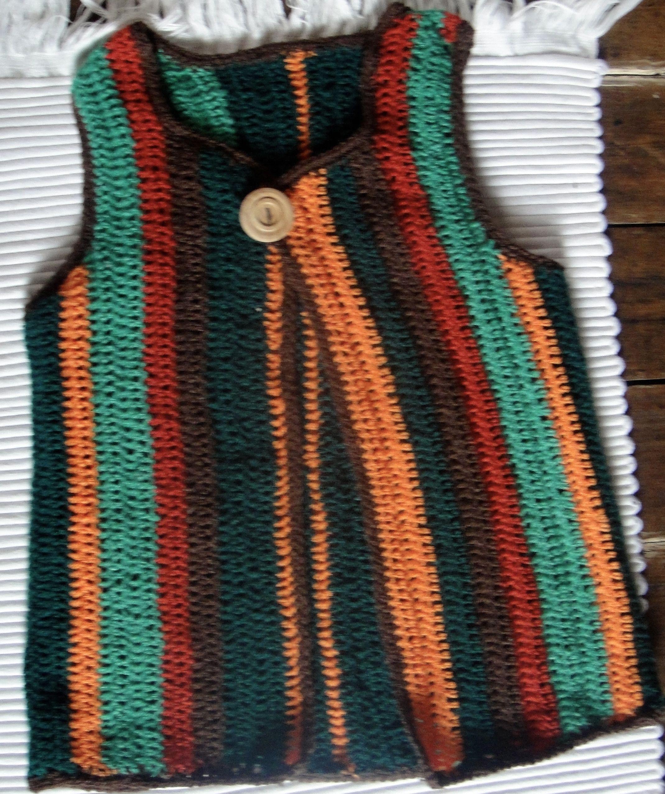 Chaleco para mujer tejido en lana y crochet punto vareta - Como hacer punto de lana para principiantes ...