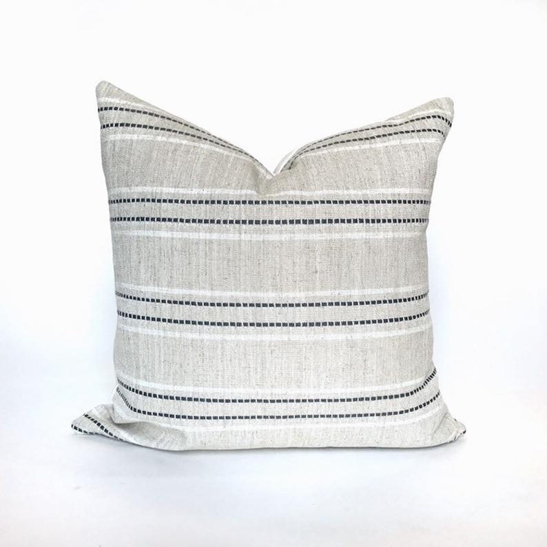 Best Beige And Gray Woven Stripe Pillow Cover With Images 400 x 300