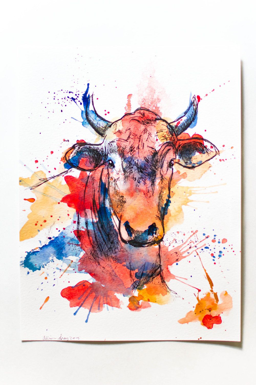 Watercolor Bull Original 9x12 Fine Art Painting Of Cow In