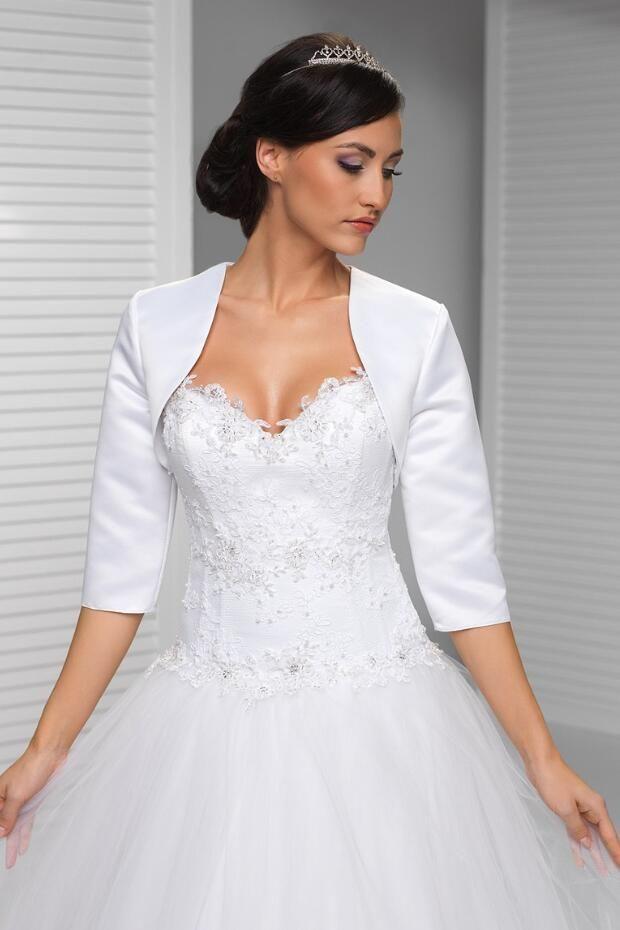 Available Sizes New Womens Wedding Top Lace Bolero Shrug Jacket Three Quarter Sleeve M L Xl Women Satin Bridal Prom