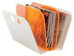 Trendiger Zeitungsständer aus Acryl in Neonfarben (orange / weiß) von Neon Living