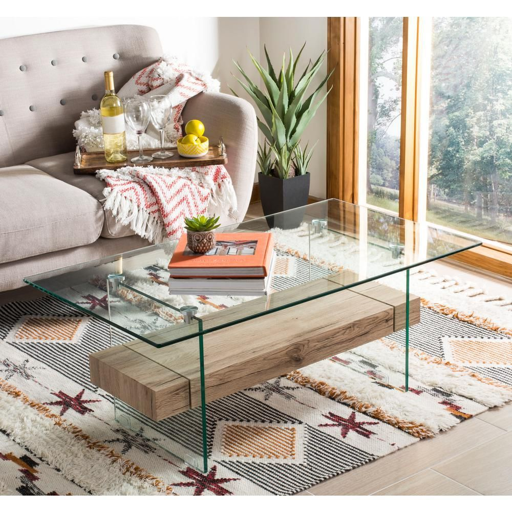 Safavieh Kayley Natural/Glass Coffee Table | Modern glass coffee table, Coffee table, Glass ...