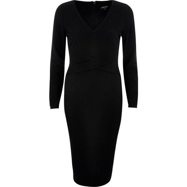 River Island Black crossover bodycon evening dress ($70) ❤ liked on Polyvore