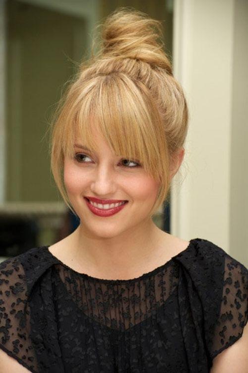 """<div class=""""photoCaption"""">Dianna Agron! bun + bangs   All things HAIR</div>"""