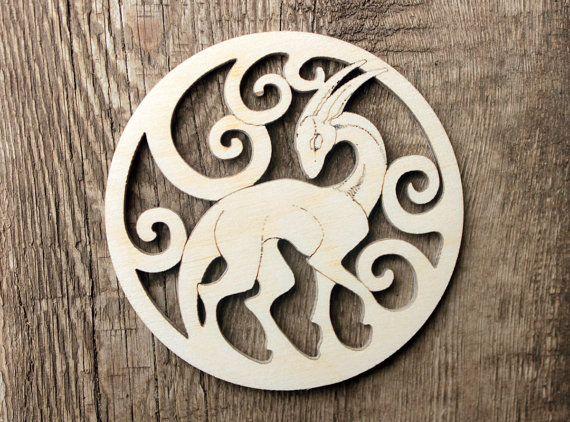 Wood fantasy animal, brooch, magnet, decor home, for creative, for decoration, fantasy wood art
